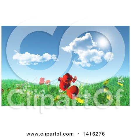 3d Grassy Hill with Daisies, Dandelions and Poppies Under a Blue Sky with Clouds Posters, Art Prints