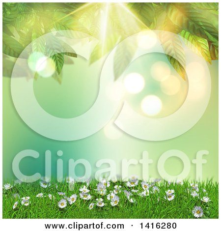 Clipart of a 3d Hill with Daisies and Grass Against Green Flares with Leaves - Royalty Free Illustration by KJ Pargeter