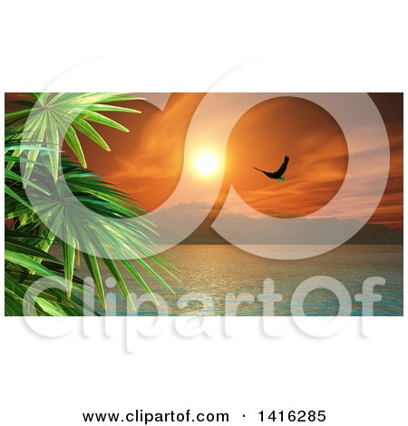 Clipart of a 3d Tropical Ocean Bay with Mountains, a Bald Eagle and Palm Trees at Sunset - Royalty Free Illustration by KJ Pargeter
