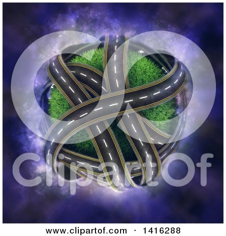 Clipart of a 3d Grassy Planet with Crossing Roads on Purple Nebula - Royalty Free Illustration by KJ Pargeter