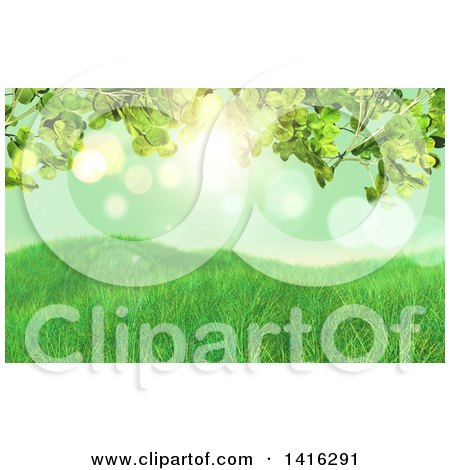 Clipart of a Background of 3d Grasssy Hills and Clover Leaves Against Green Bokeh - Royalty Free Illustration by KJ Pargeter