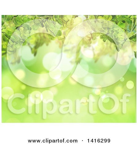 Clipart of a Background of Green Bokeh Flares and Clovers - Royalty Free Illustration by KJ Pargeter