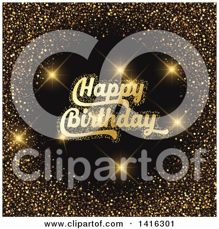 Clipart of a Gold Glitter Frame with Happy Birthday Text and Flares on Black - Royalty Free Vector Illustration by KJ Pargeter