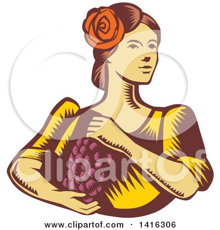 Clipart of a Retro Woodcut Senorita Spanish Woman Holding Grapes - Royalty Free Vector Illustration by patrimonio