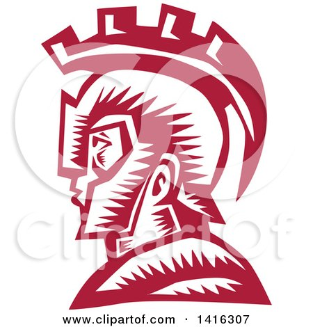 Clipart Of A Retro Woodcut Spartan Warrior In Profile Wearing A Helmet Royalty Free Vector Illustration