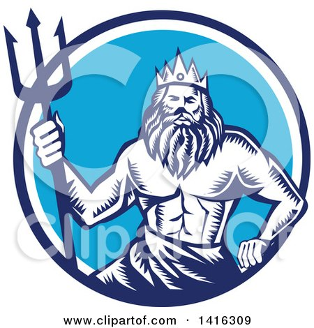 Clipart of a Retro Woodcut Roman Sea God, Neptune or Poseidon, with a Trident in a White and Blue Circle - Royalty Free Vector Illustration by patrimonio