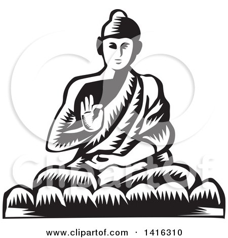 Clipart of a Black and White Retro Woodcut Buddha Sitting in the Lotus Position - Royalty Free Vector Illustration by patrimonio
