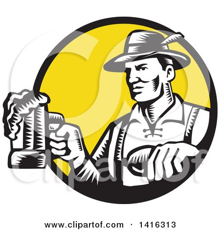 Clipart of a Retro Black and White Woodcut German Man Wearing Lederhosen and Raising a Beer Mug for a Toast, Emerging from a Black and Yellow Circle - Royalty Free Vector Illustration by patrimonio