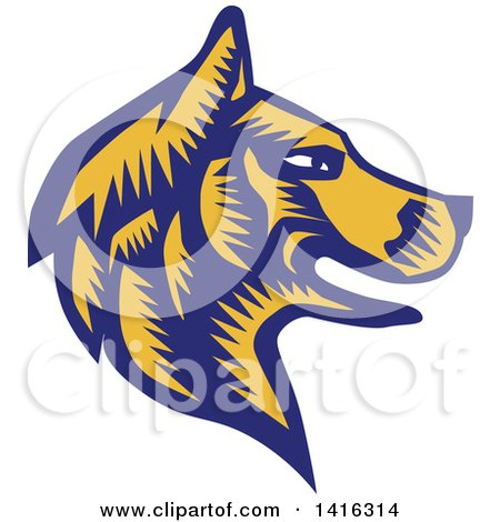 Clipart of a Retro Woodcut Blue and Yellow Husky Dog Head in Profile - Royalty Free Vector Illustration by patrimonio