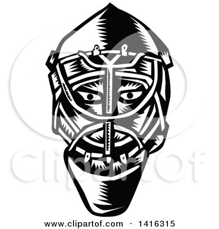 Clipart of a Retro Black and White Woodcut Ice Hockey Goalie Helmet - Royalty Free Vector Illustration by patrimonio