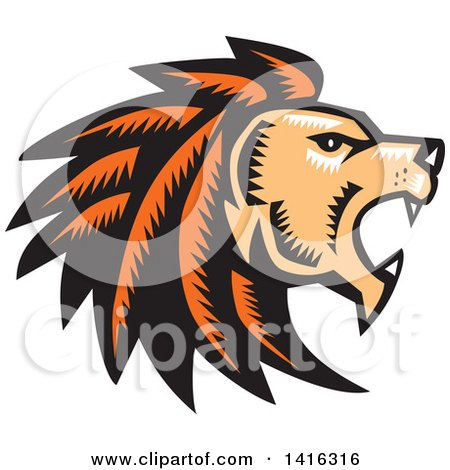 Clipart of a Retro Woodcut Roaring Male Lion Head in Profile - Royalty Free Vector Illustration by patrimonio