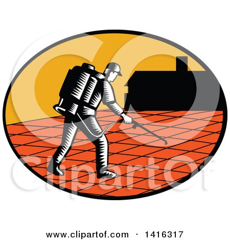 Clipart of a Retro Woodcut Paver Sealer Contractor Worker Sealing Paving near a House - Royalty Free Vector Illustration by patrimonio