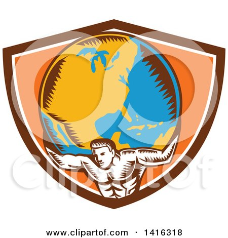 Clipart of a Retro Woodcut Strong Man, Atlas, Holding Earth on His Shoulders in a Brown White and Orange Crest - Royalty Free Vector Illustration by patrimonio
