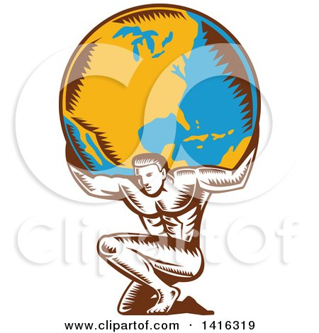 Clipart of a Retro Woodcut Strong Man, Atlas, Kneeling and Holding Earth on His Shoulders - Royalty Free Vector Illustration by patrimonio