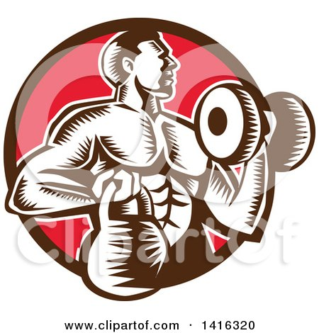 Clipart of a Retro Woodcut Strong Male Bodybuilder Working out with a Dummbell and Kettlebell, Emerging from a Brown and Red Circle - Royalty Free Vector Illustration by patrimonio