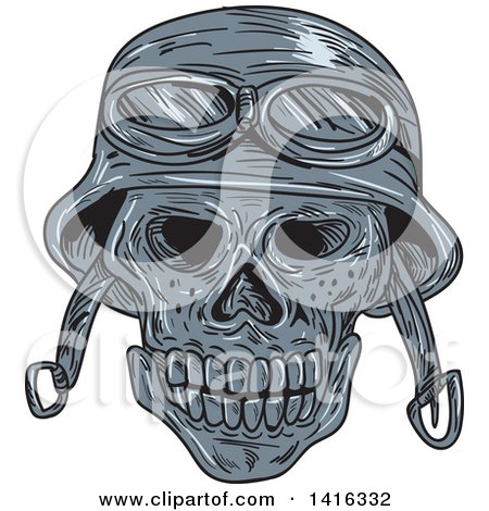 Clipart of a Sketched Biker Skull Wearing a Helmet - Royalty Free Vector Illustration by patrimonio