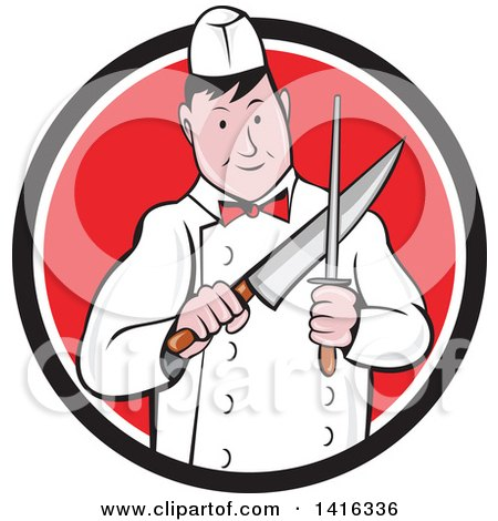 Clipart of a Retro Cartoon Male Butcher Sharpening a Knife in a Black White and Red Circle - Royalty Free Vector Illustration by patrimonio