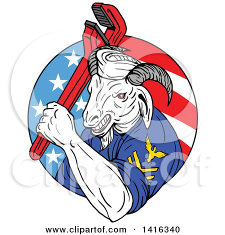Clipart of a Retro Sketched Navy Goat Man Holding Pipe Monkey Wrench in an American Circle - Royalty Free Vector Illustration by patrimonio