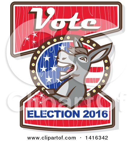 Clipart of a Retro Politician Democratic Donkey on a Vote Election 2016 Sign - Royalty Free Vector Illustration by patrimonio