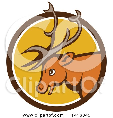 Clipart of a Retro Cartoon Stag Buck Deer Head in a Brown White and Yellow Circle - Royalty Free Vector Illustration by patrimonio