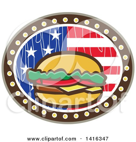 Clipart of a Retro Cartoon American Cheeseburger in a Wood Textured American Flag Oval - Royalty Free Vector Illustration by patrimonio
