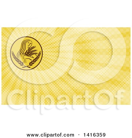 Clipart of a Greek Goddess, Demeter, Holding Grains and Yellow Rays Background or Business Card Design - Royalty Free Illustration by patrimonio
