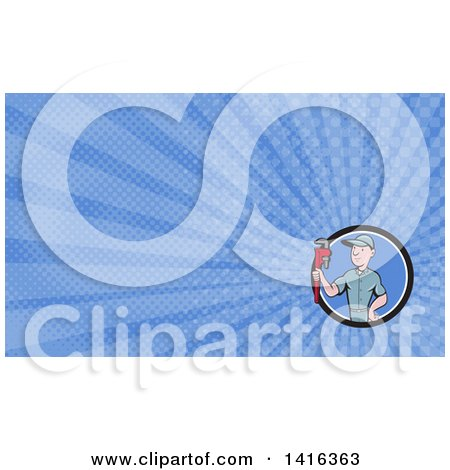 Retro Cartoon White Male Plumber or Handy Man Holding a Monkey Wrench and Blue Rays Background or Business Card Design Posters, Art Prints