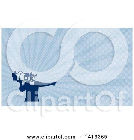 Clipart of a Retro Male House Remover or Mover Holding a Home and Pointing and Blue Rays Background or Business Card Design - Royalty Free Illustration by patrimonio