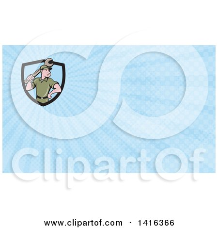 Clipart of a Retro Cartoon White Handy Man or Mechanic Holding a Wrench and Blue Rays Background or Business Card Design - Royalty Free Illustration by patrimonio