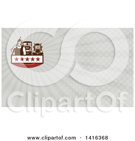 Clipart of a Retro Male Pressure Washer Worker Standing with a Wand over His Shoulder and Big Rig Trucks and Gray Rays Background or Business Card Design - Royalty Free Illustration by patrimonio
