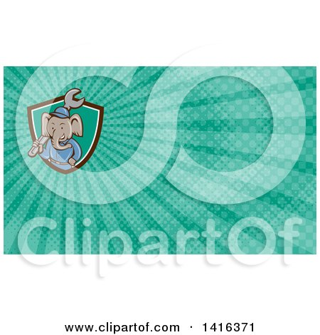 Clipart of a Retro Cartoon Elephant Man Mechanic Holding a Giant Spanner Wrench and Turquoise Rays Background or Business Card Design - Royalty Free Illustration by patrimonio