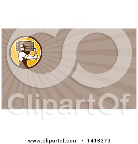 Clipart of a Retro Male Bartender Pouring a Glass of Beer from a Keg and Taupe Rays Background or Business Card Design - Royalty Free Illustration by patrimonio