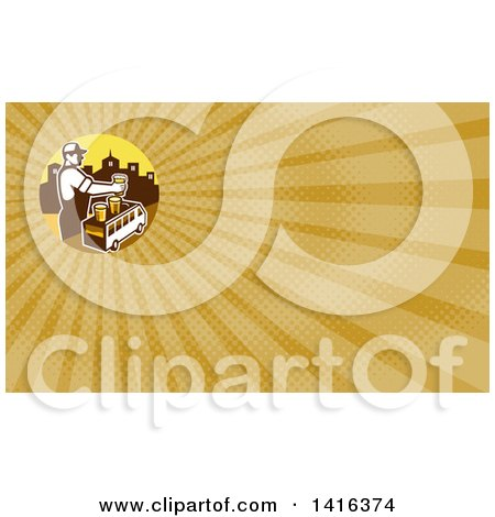 Clipart of a Retro Male Bartender Putting a Beer on Top of a Brew Tour Van in a Cityscape Circle and Yellow Rays Background or Business Card Design - Royalty Free Illustration by patrimonio