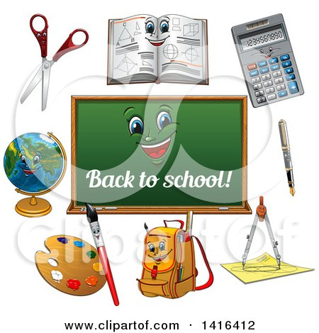 Clipart of a Back to School Chalkboard and Supplies - Royalty Free Vector Illustration by Vector Tradition SM