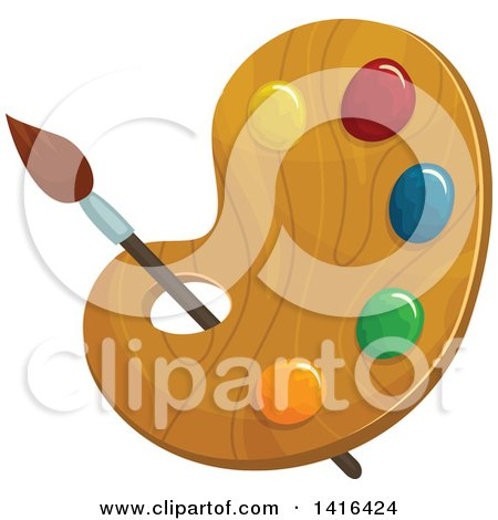 Clipart of a Paintbrush and Palette - Royalty Free Vector Illustration by Vector Tradition SM