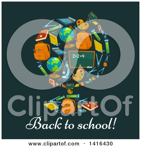 Clipart of a Desk Globe Made of School Supplies, with Text - Royalty Free Vector Illustration by Vector Tradition SM