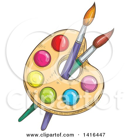 Clipart of a Sketched Artist Paint Palette and Brushes - Royalty Free Vector Illustration by Vector Tradition SM
