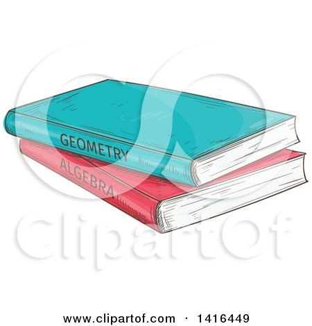 Clipart of Sketched Geometry and Algebra Math Books - Royalty Free Vector Illustration by Vector Tradition SM