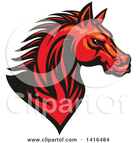 Clipart of a Tough Red Horse Head - Royalty Free Vector Illustration by Vector Tradition SM