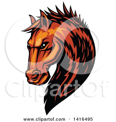 Clipart of a Tough Orange or Brown Horse Head - Royalty Free Vector Illustration by Vector Tradition SM