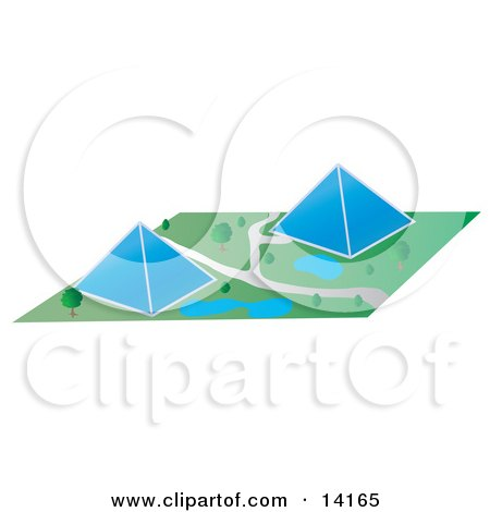 Two Glass Pyramid Buildings in a Park Setting Posters, Art Prints