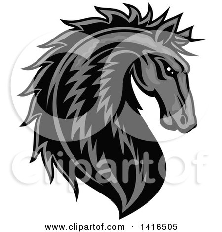 Clipart of a Tough Gray Horse Head - Royalty Free Vector Illustration by Vector Tradition SM