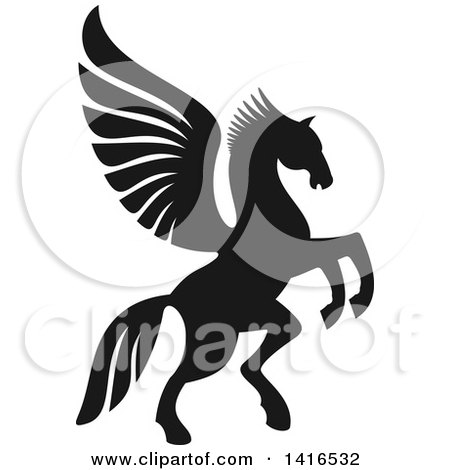 Clipart of a Black and White Silhouetted Rampant Winged Horse Pegasus - Royalty Free Vector Illustration by Vector Tradition SM