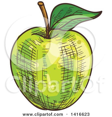 Clipart of a Sketched Green Apple - Royalty Free Vector Illustration by Vector Tradition SM