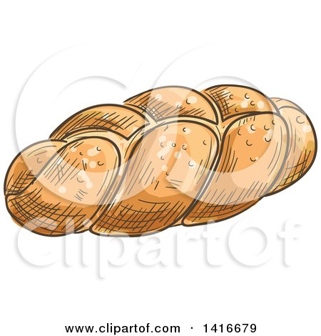 Clipart of a Sketched Loaf of Challah Bread - Royalty Free Vector Illustration by Vector Tradition SM