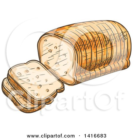 Clipart of a Sketched Loaf of Sliced Bread - Royalty Free Vector Illustration by Vector Tradition SM
