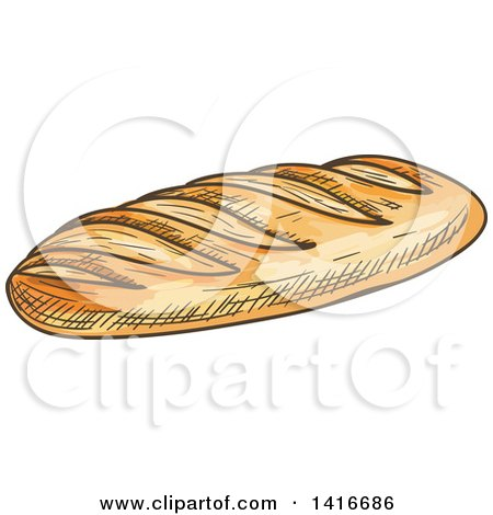 Clipart of a Sketched Loaf of French Bread - Royalty Free Vector Illustration by Vector Tradition SM