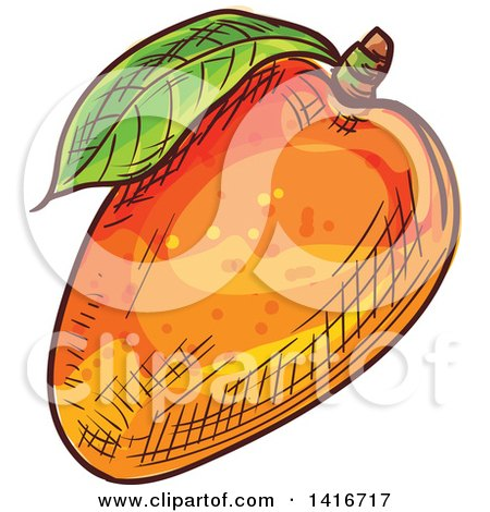 Clipart of a Sketched Mango - Royalty Free Vector Illustration by Vector Tradition SM