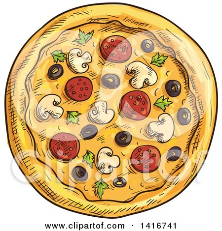 Clipart of a Sketched Pizza - Royalty Free Vector Illustration by Vector Tradition SM