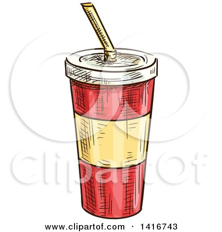 Clipart of a Sketched Fountain Soda - Royalty Free Vector Illustration by Vector Tradition SM